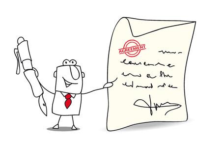 empresario: Un hombre de negocios quiere firmar un acuerdo