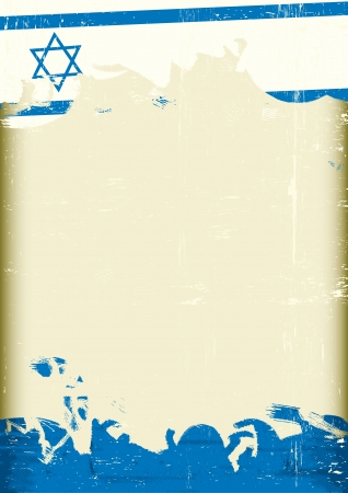zionism: An israeli flag with a large frame for your message