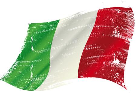 bandera italiana: Bandera italiana con una textura en la victoria Vectores