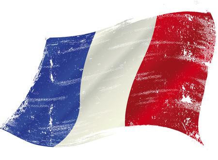 Franse vlag met een textuur in de win
