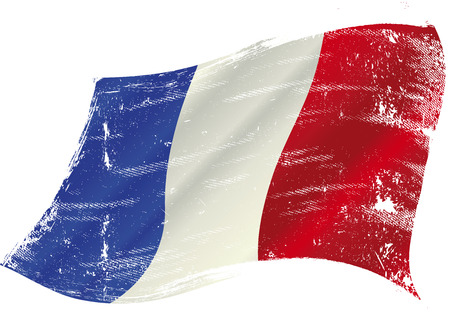 French flag with a texture in the win