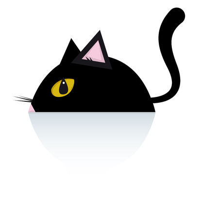 lookout: A black cat is lying down on the floor  Illustration