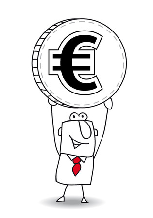 european economic community: the business man is holding a coin in his hands