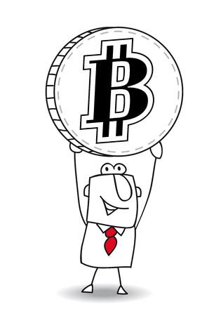 ビジネスの男性が彼の手に硬貨を持っています。  イラスト・ベクター素材