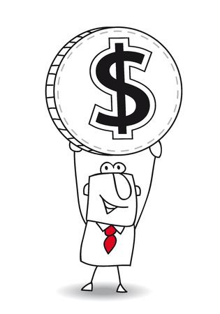 us coin: el hombre de negocios es la celebraci�n de una moneda en sus manos