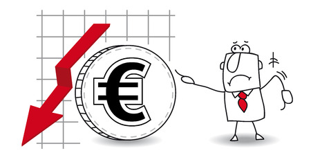 fluctuation: fluctuation of the euro in the down Illustration