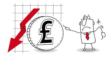 stock trader: fluctuaci�n de la libra esterlina en el down Vectores