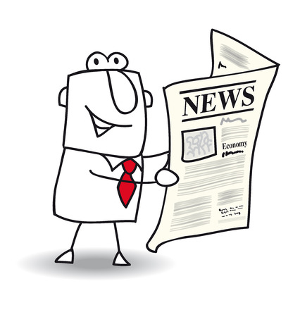 newspaper cartoons: This businessman read a newspaper Illustration
