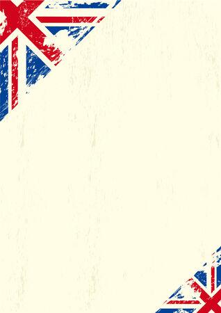 bandera reino unido: Una carta con una bandera del Reino Unido grunge para su publicidad Vectores