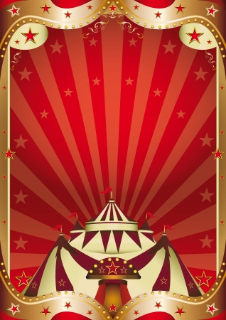performing arts event: A red circus background with a big top