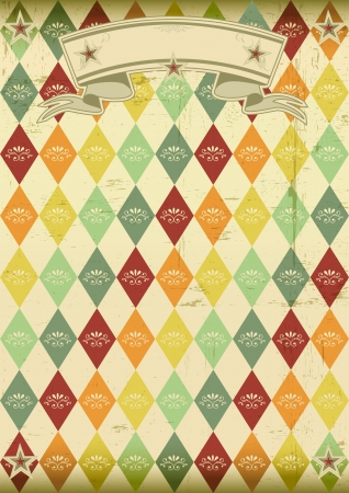 rhombus: vintage rhombus pattern poster An old poster for your party Illustration