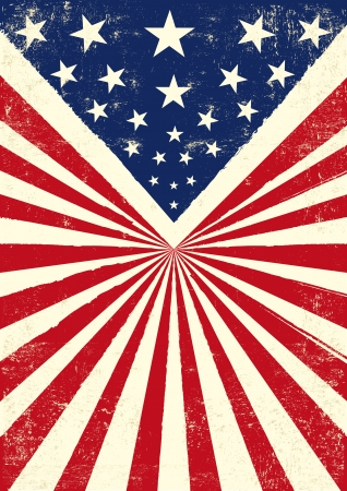 An american vintage flag with a texture Vector