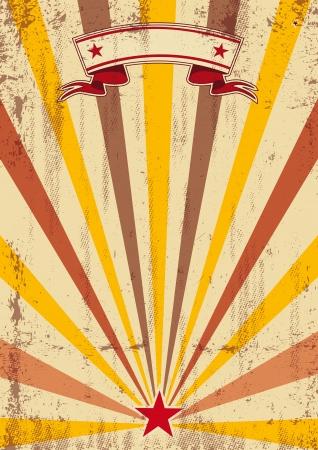 cabaret stage: Un viejo cartel de color con los rayos de sol y una textura