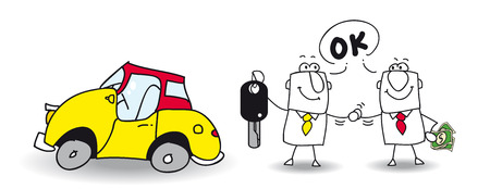 autom�vil caricatura: Joe vende su coche para Mike