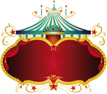 magic show:  A circus frame with a big top and a large copy space for your message  Illustration