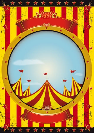 A circus poster with a big top and a large empty circle frame