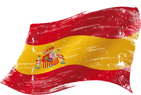 madrid spain: Spanish flag with a texture in the win Illustration