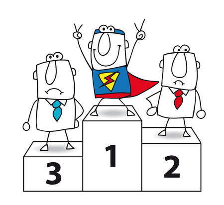 Number one  And the winner is Super businessman   Vector