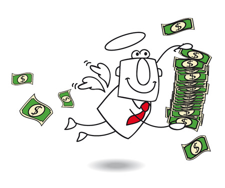 grow money: A business angel brings money for your company Illustration