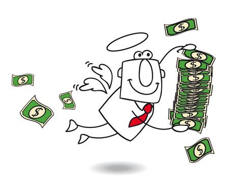Un ángel de negocio trae dinero para su empresa Foto de archivo - 25867216