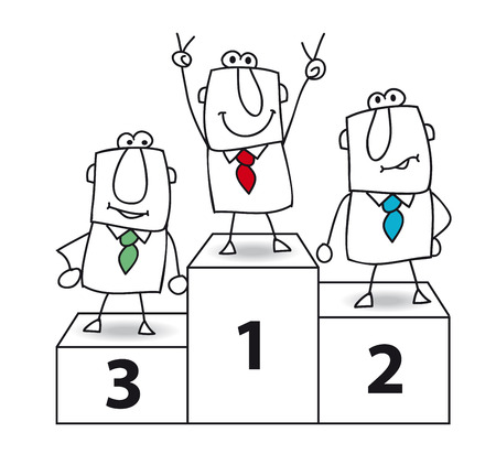 Number one  And the winner is Joe the businessman   Illustration