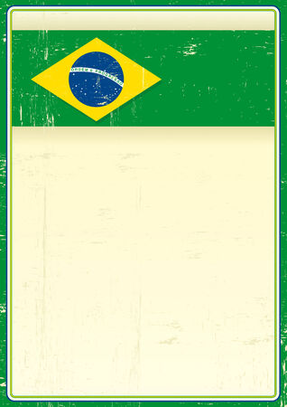 A brazilian poster with a flag of brazil and a large copy space for your message  Vector