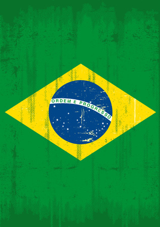 Brazilian grunge flag for a poster  A flag of Brazil with a texture  Vector
