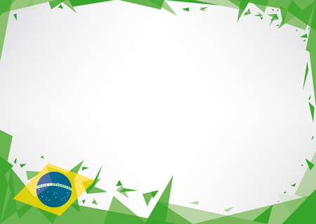 footballs: A horizontal poster  origami style  on brazil theme Illustration