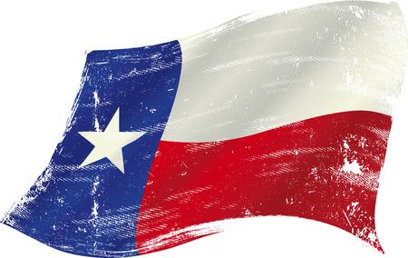 bandera de Texas en el viento con una textura Vectores