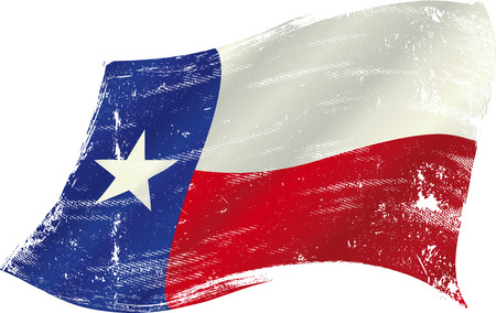 distressed: flag of  Texas in the wind with a texture