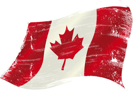 canadian flag: flag of Canada in the wind with a texture