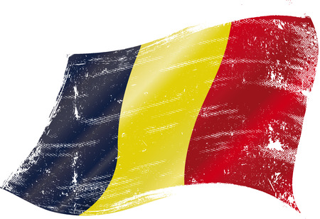 flag of Belgium in the wind with a texture Vector