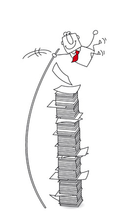 might: joe, the businessman jumps over a stack of paper Illustration