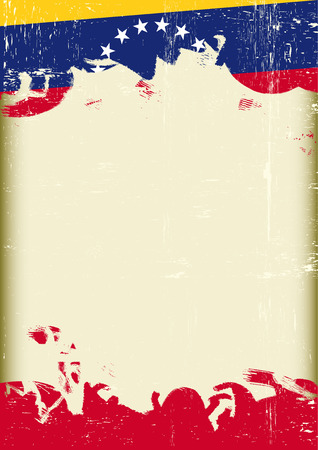 bandera de venezuela: Un cartel con un gran marco rayado y una bandera grungeVenezuelan para su publicidad