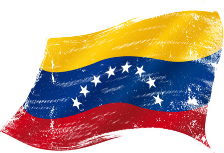 flag of  Venezuela in the wind with a texture Vector