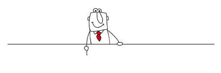 A businessman showing a board  Write your message on this board Vector