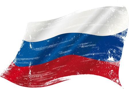bandera rusia: bandera de Rusia en el viento con una textura