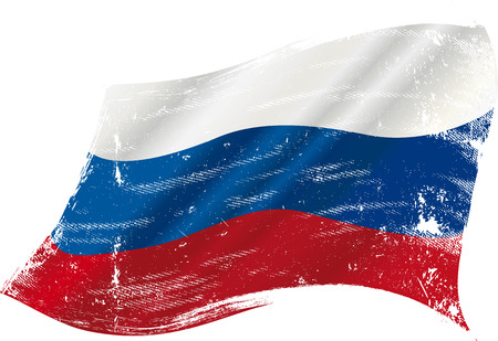 russia flag: flag of  Russia in the wind with a texture