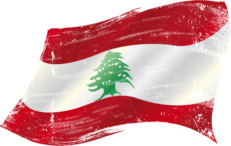 beirut lebanon: flag of Lebanon in the wind with a texture