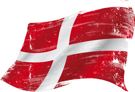 denmark flag: flag of  Denmark in the wind with a texture Illustration