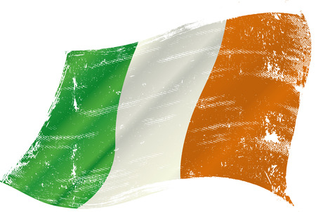 irish flag: flag of Ireland in the wind with a texture