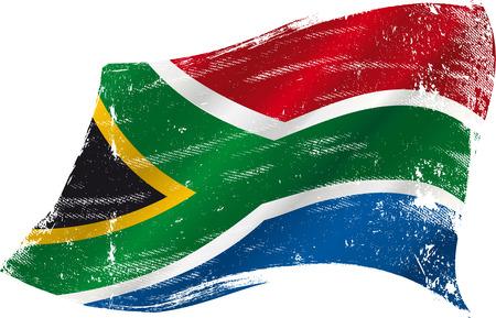 Bandera de Sudáfrica en el viento con una textura Vectores