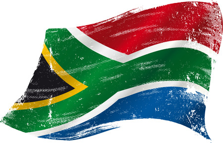 south african flag: flag of South Africa in the wind with a texture