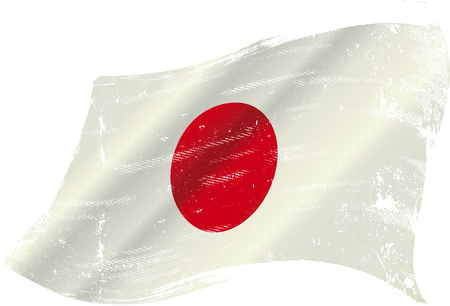 hinomaru: flag of Japan in the wind with a texture