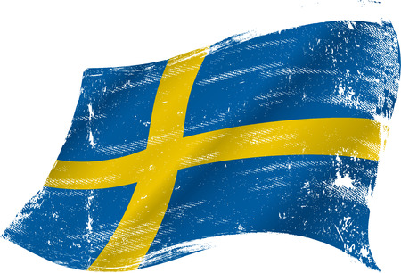 sweden flag: flag of Sweden in the wind with a texture Illustration