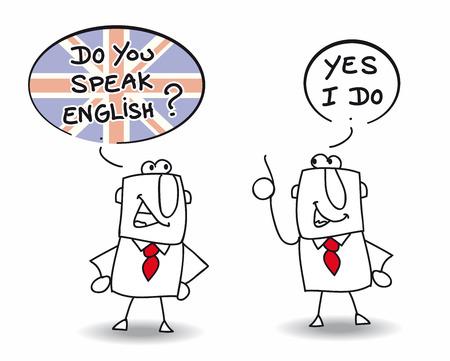 languages: Dos hombres hablan Inglés