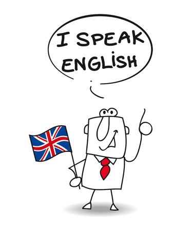 drapeau anglais: Cet homme d'affaires parle anglais Illustration