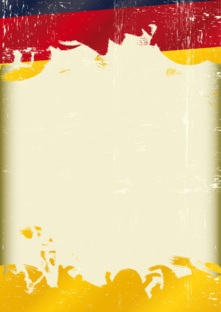 A poster with a large scratched frame and a grunge german flag for your publicity  Vector