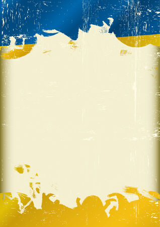 ukrainian flag:  A poster with a large scratched frame and a grunge ukrainian flag for your publicity