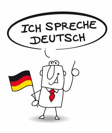 languages: Este hombre de negocios habla alemán Vectores
